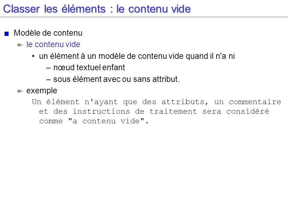 Classer les éléments : le contenu vide