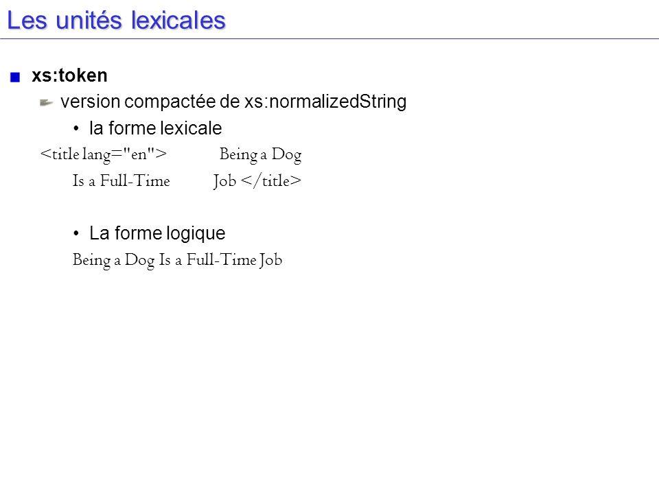 Les unités lexicales xs:token version compactée de xs:normalizedString