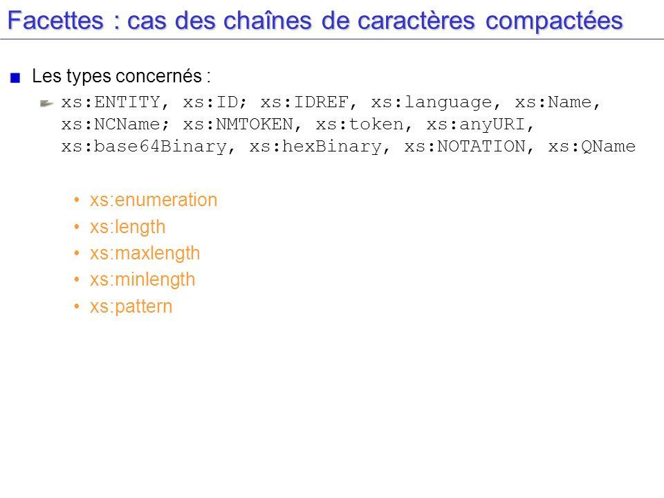 Facettes : cas des chaînes de caractères compactées