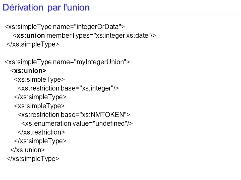 Dérivation par l union <xs:simpleType name= integerOrData >