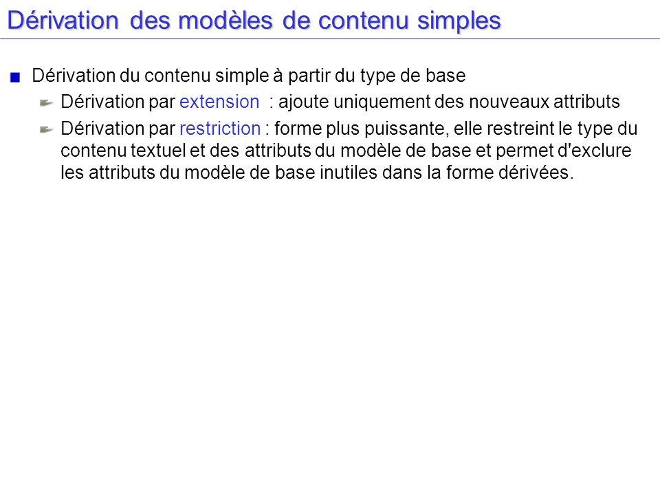 Dérivation des modèles de contenu simples