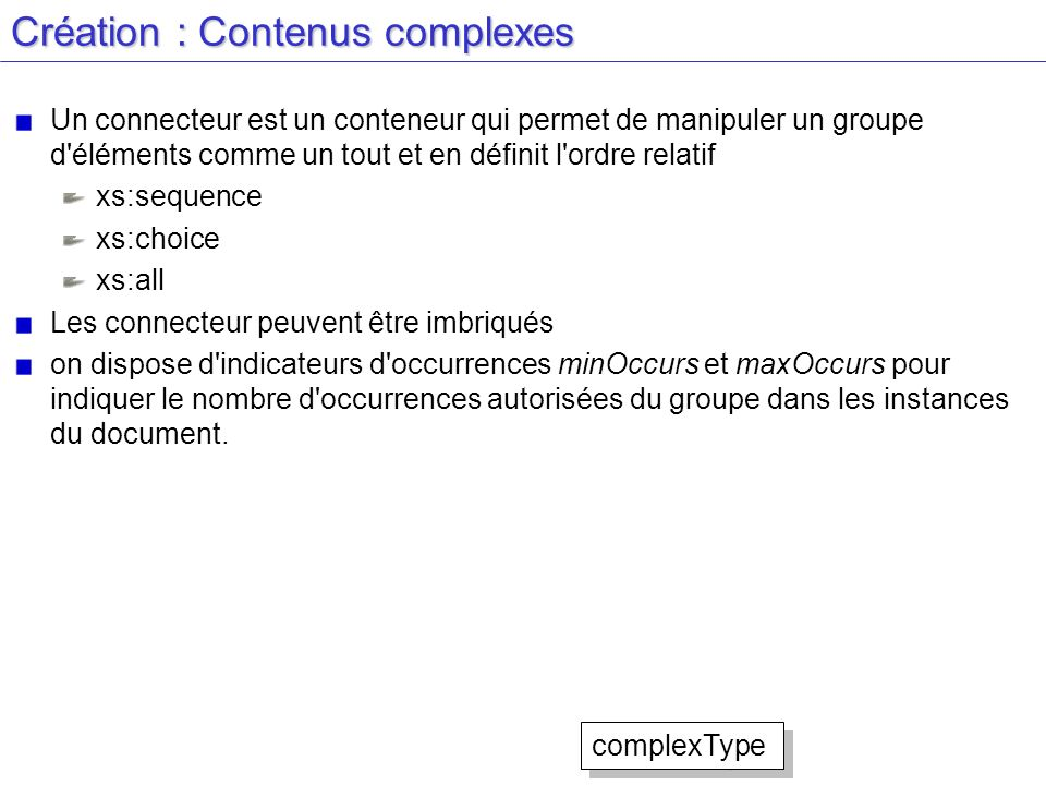 Création : Contenus complexes