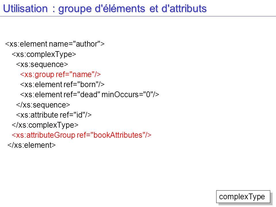Utilisation : groupe d éléments et d attributs