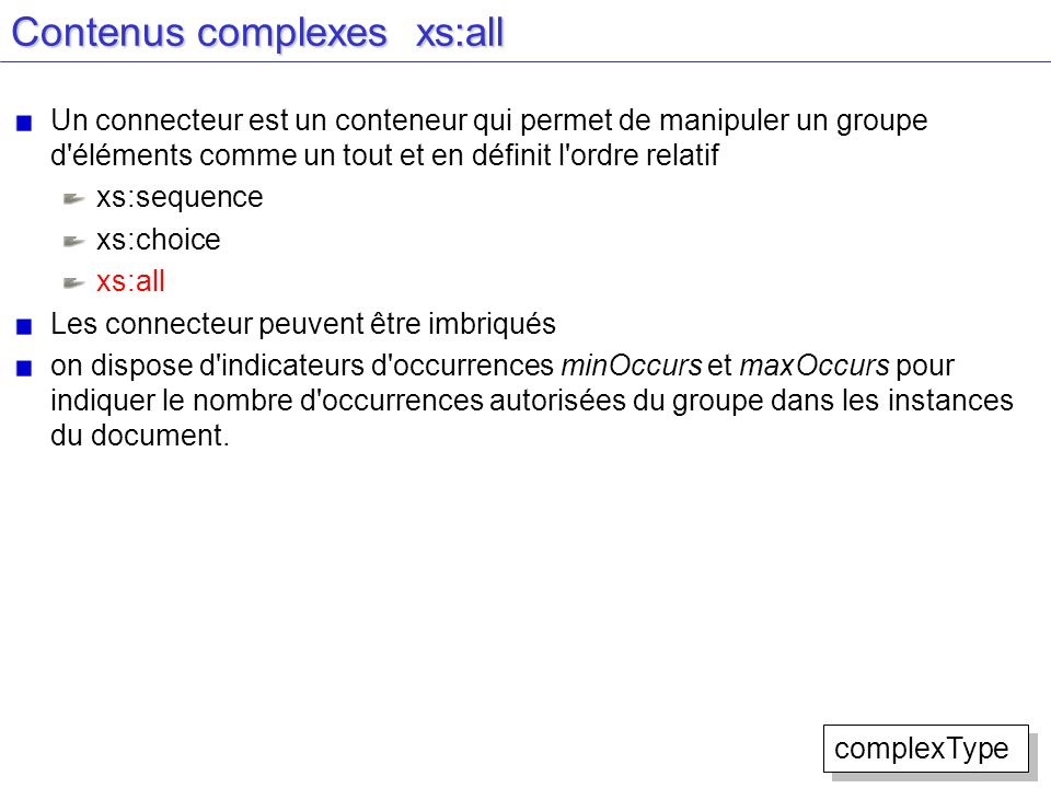 Contenus complexes xs:all