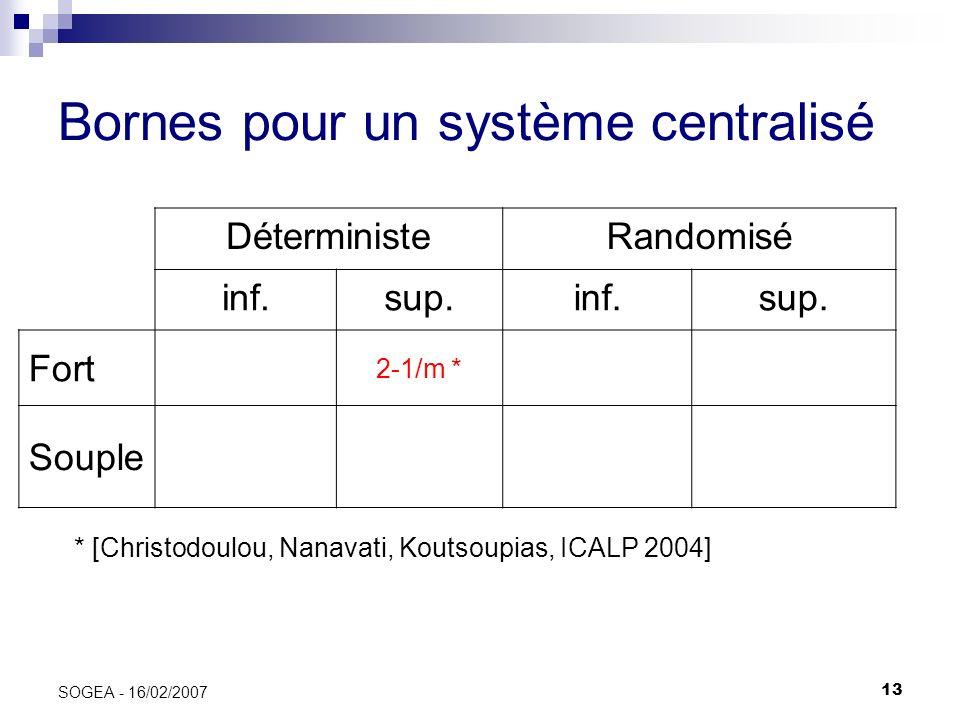Bornes pour un système centralisé