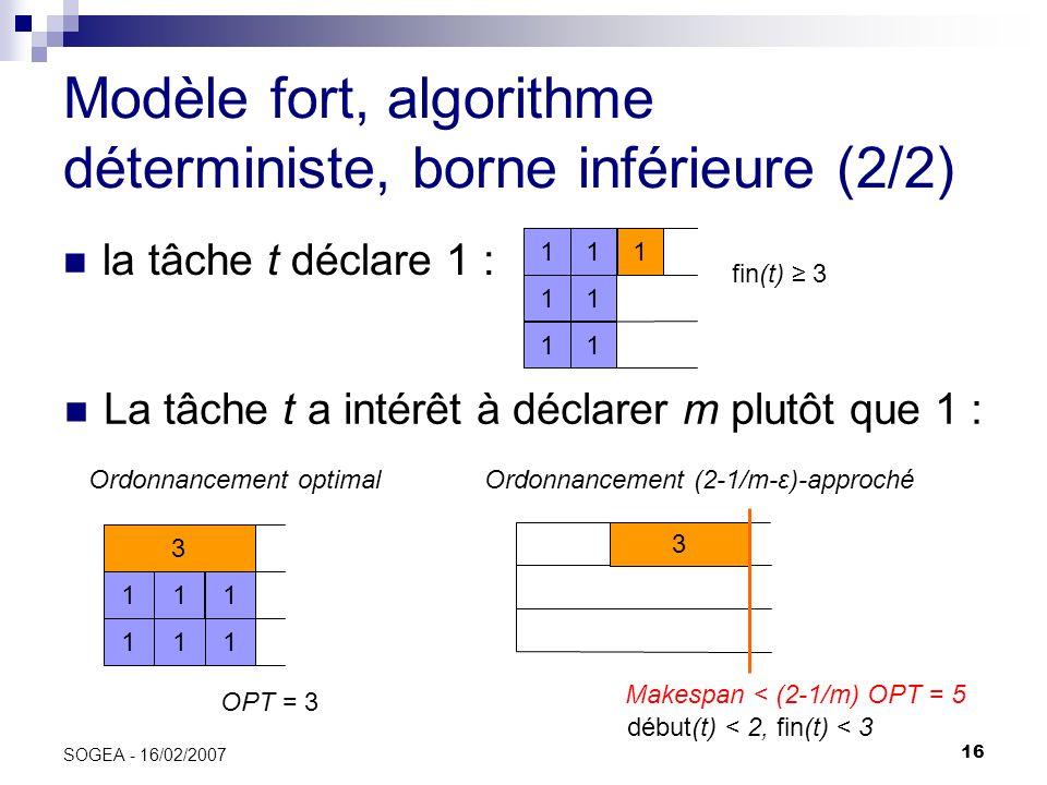 Modèle fort, algorithme déterministe, borne inférieure (2/2)