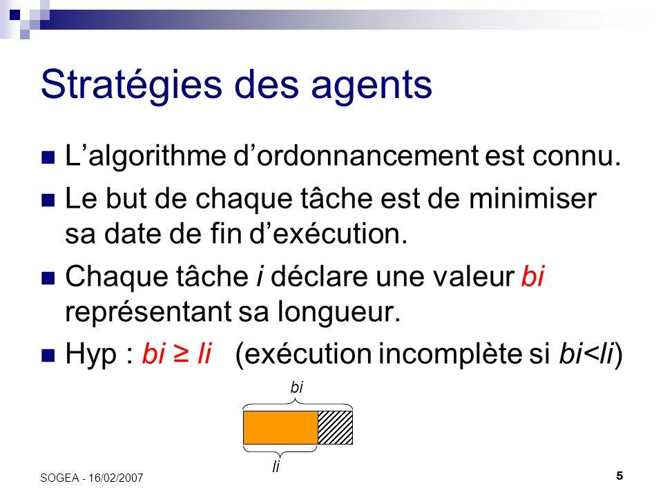 Stratégies des agents L'algorithme d'ordonnancement est connu.
