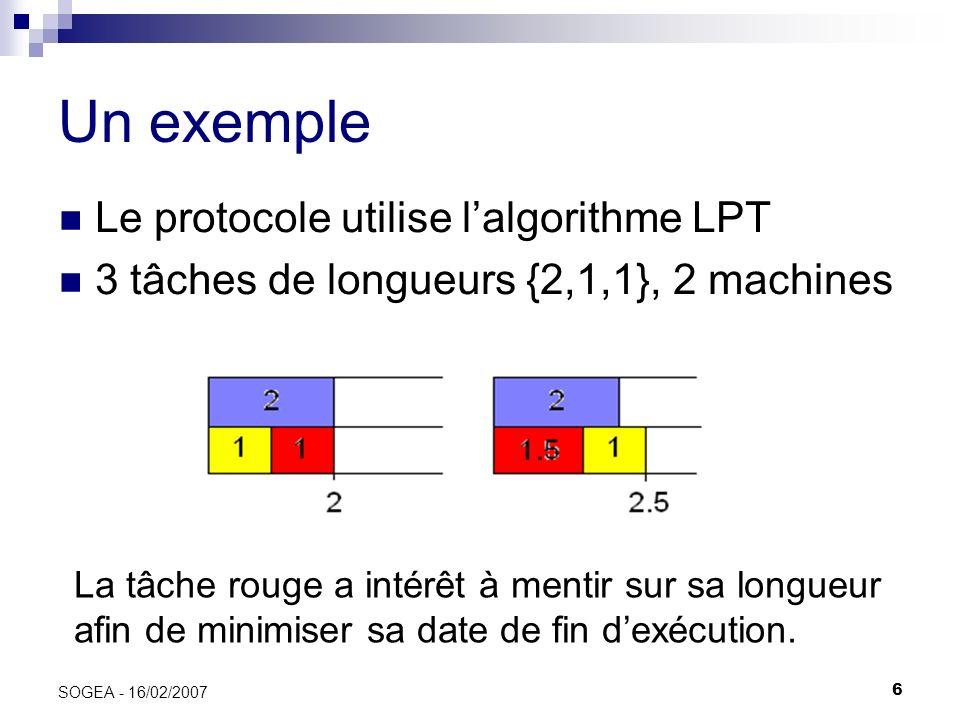 Un exemple Le protocole utilise l'algorithme LPT