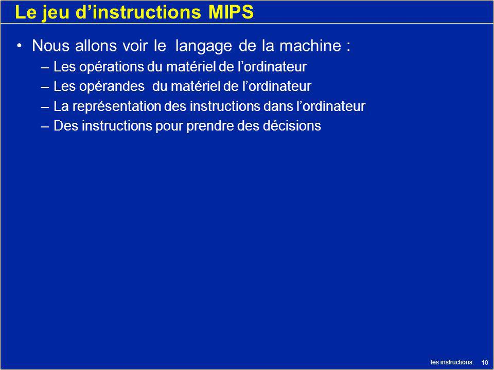 Le jeu d'instructions MIPS