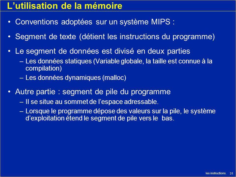 L'utilisation de la mémoire