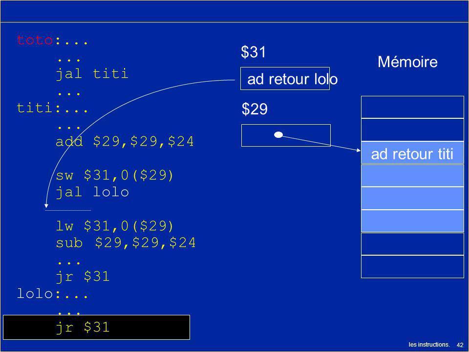 toto:... ... jal titi. titi:... add $29,$29,$24. sw $31,0($29) jal lolo. lw $31,0($29) sub $29,$29,$24.