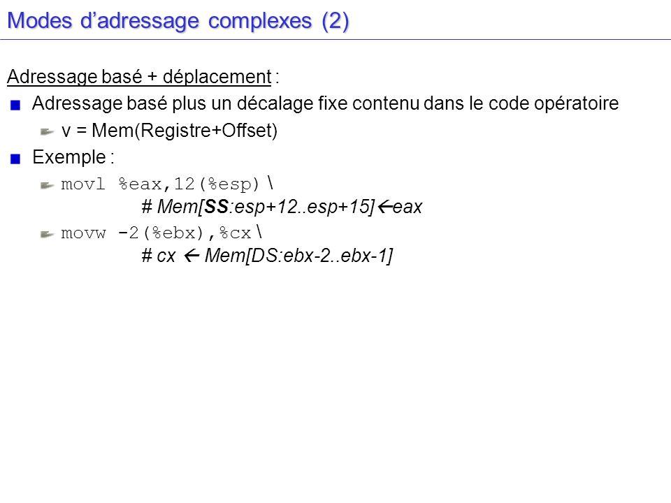 Modes d'adressage complexes (2)