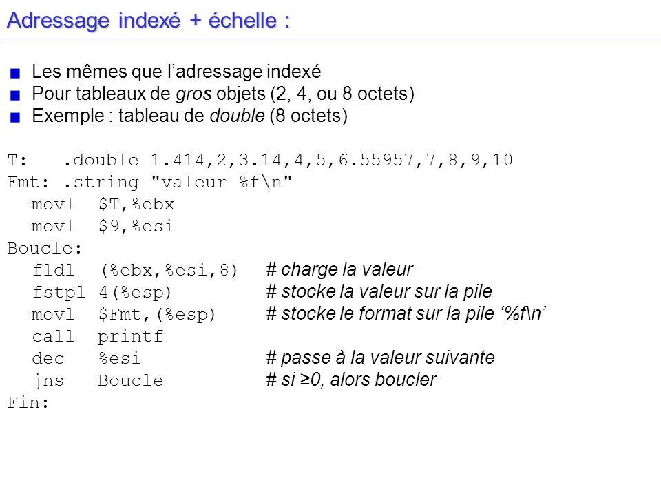 Adressage indexé + échelle :