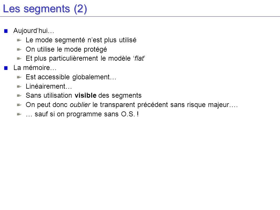 Les segments (2) Aujourd'hui… Le mode segmenté n'est plus utilisé