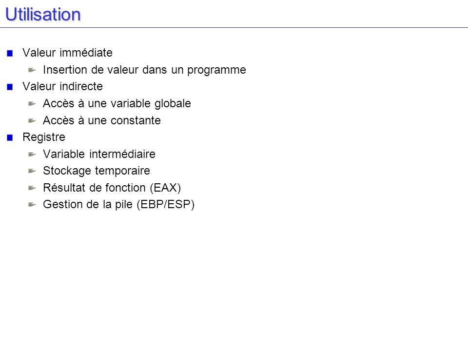 Utilisation Valeur immédiate Insertion de valeur dans un programme
