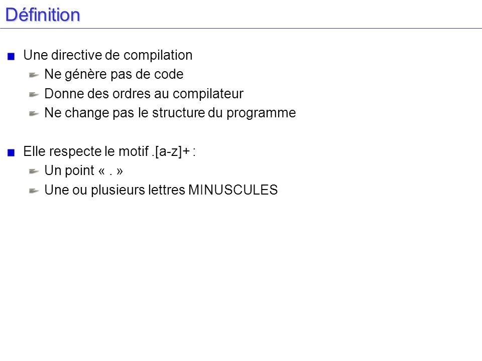 Définition Une directive de compilation Ne génère pas de code