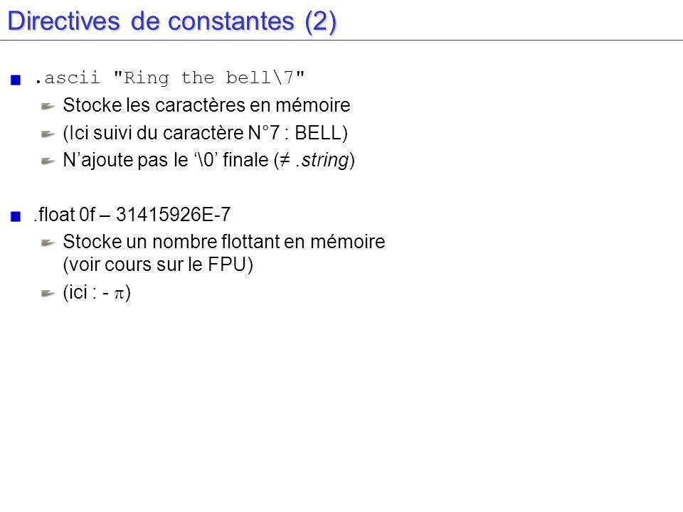 Directives de constantes (2)