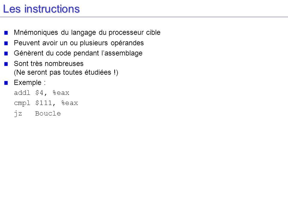 Les instructions Mnémoniques du langage du processeur cible