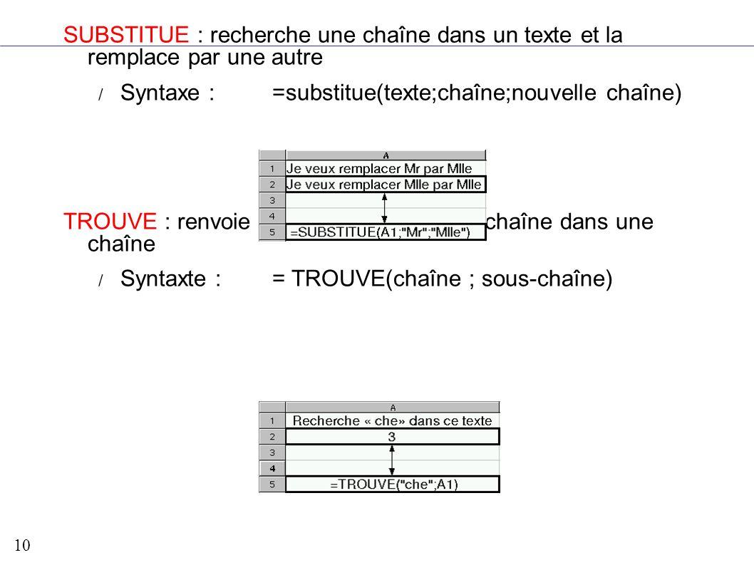 SUBSTITUE : recherche une chaîne dans un texte et la remplace par une autre