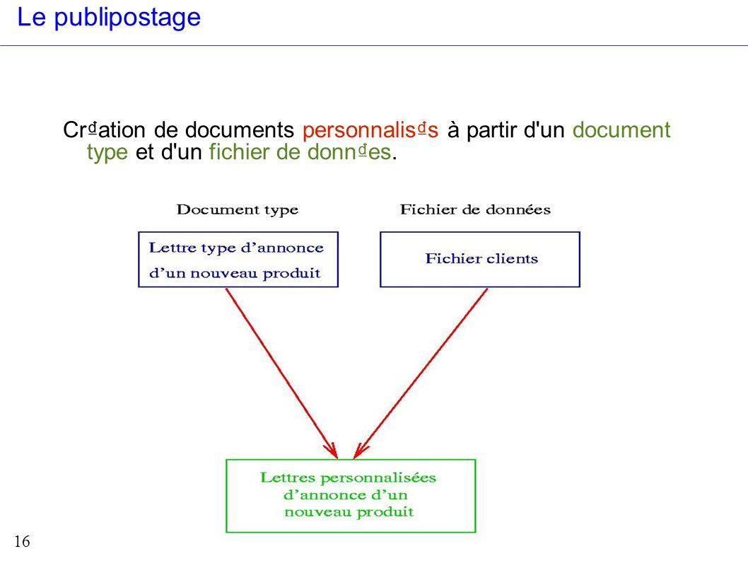 Le publipostage Cr₫ation de documents personnalis₫s à partir d un document type et d un fichier de donn₫es.