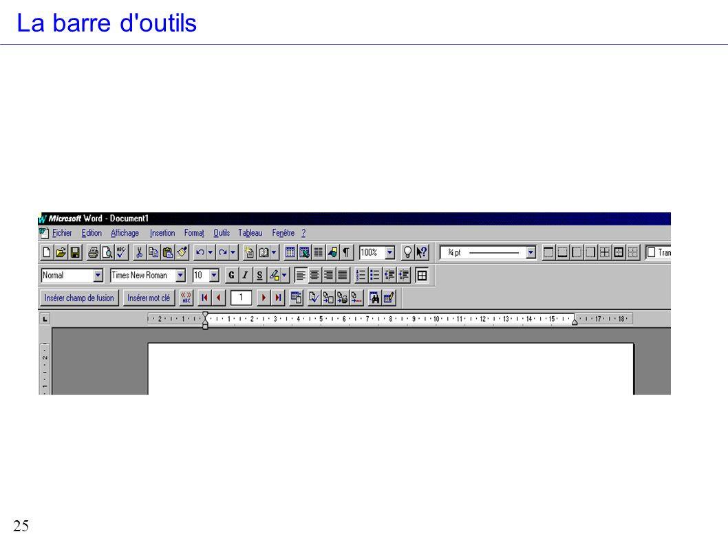 La barre d outils Pr₫sentation de la barre d outils lorsque l on dans le mode publipostage.