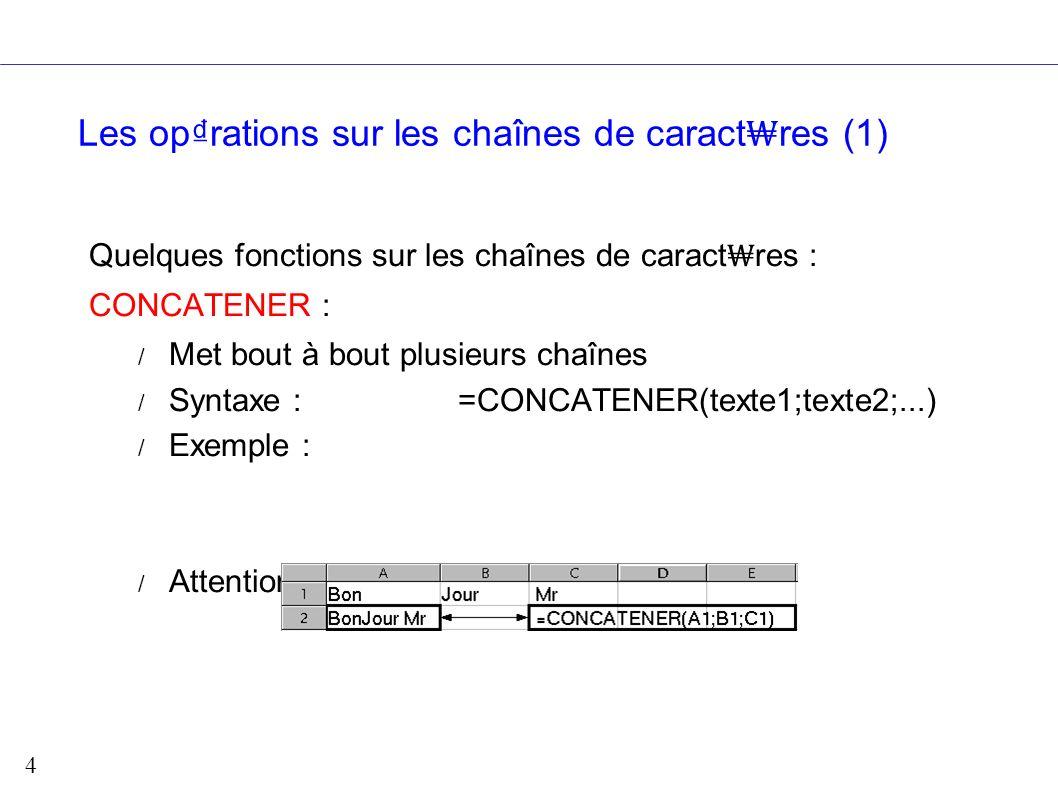 Les op₫rations sur les chaînes de caract₩res (1)