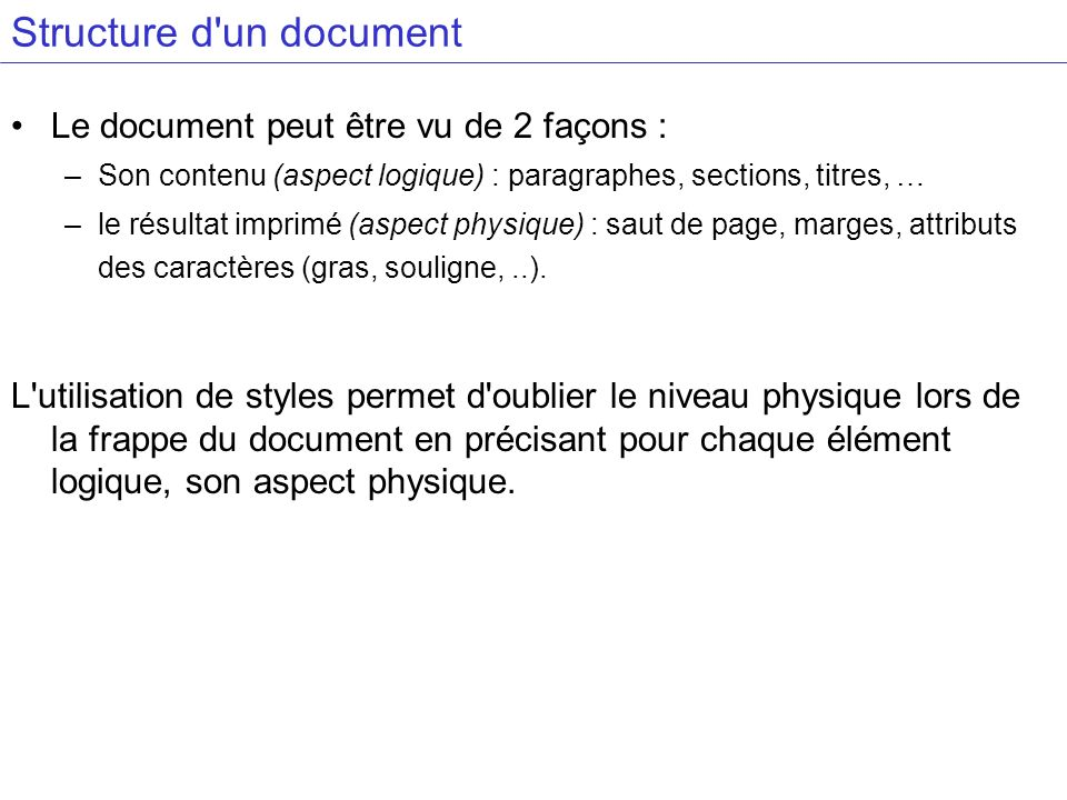 Structure d un document