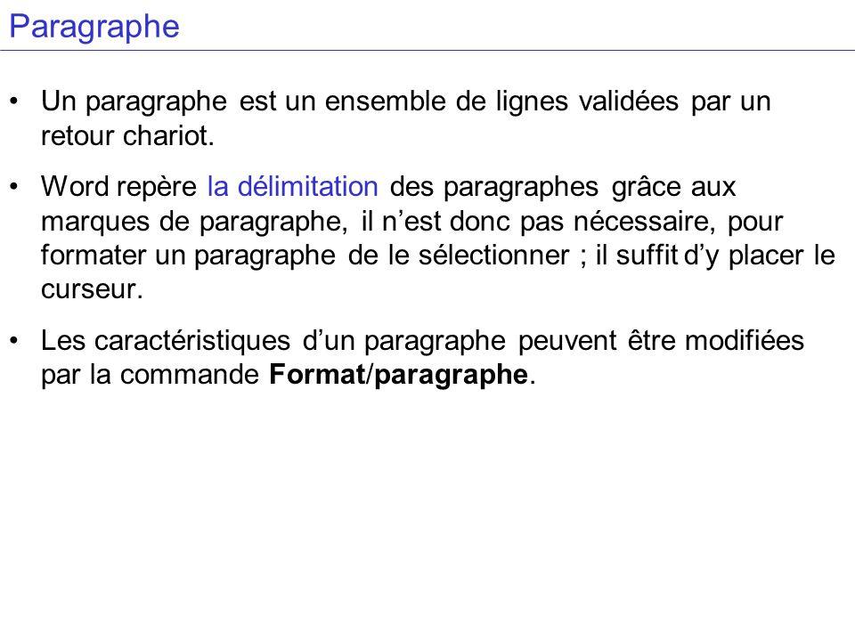 ParagrapheUn paragraphe est un ensemble de lignes validées par un retour chariot.
