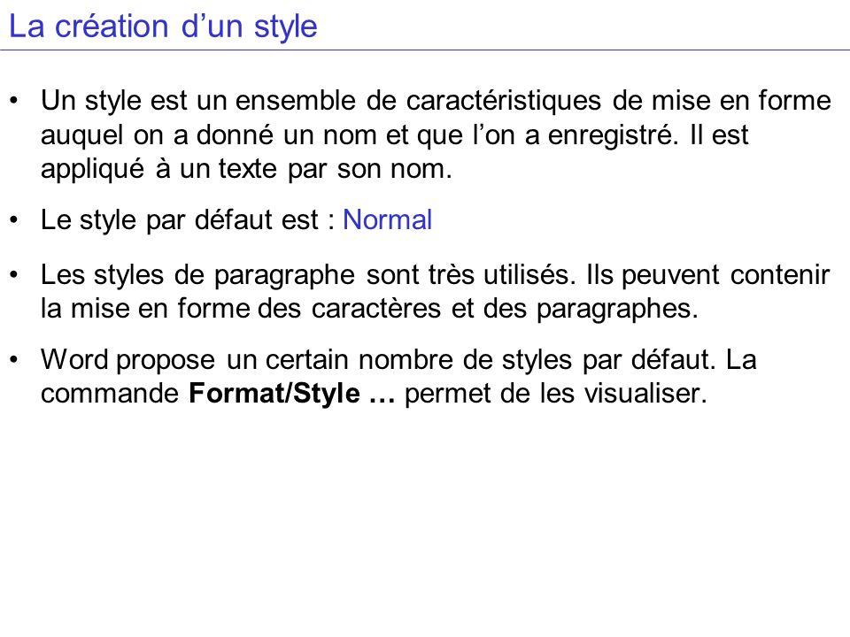 La création d'un style