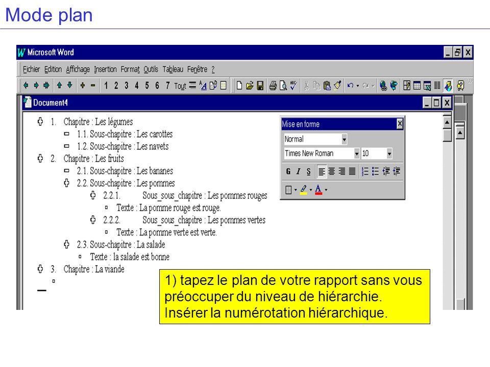 Mode plan1) tapez le plan de votre rapport sans vous préoccuper du niveau de hiérarchie.