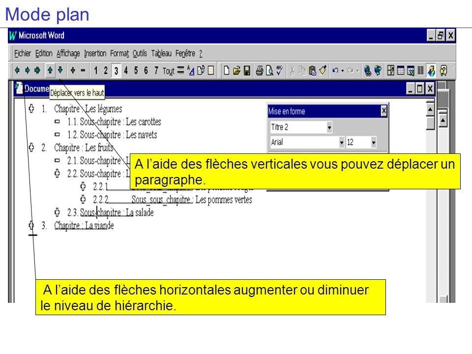 Mode planA l'aide des flèches verticales vous pouvez déplacer un paragraphe.