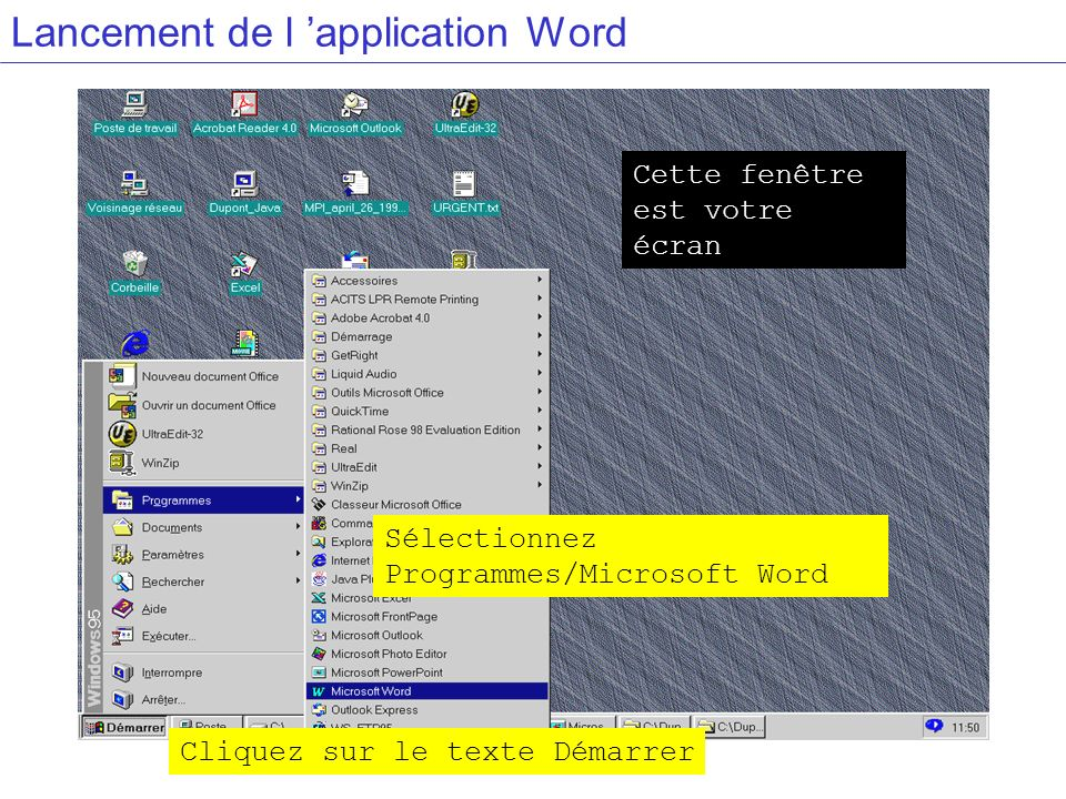 Lancement de l 'application Word