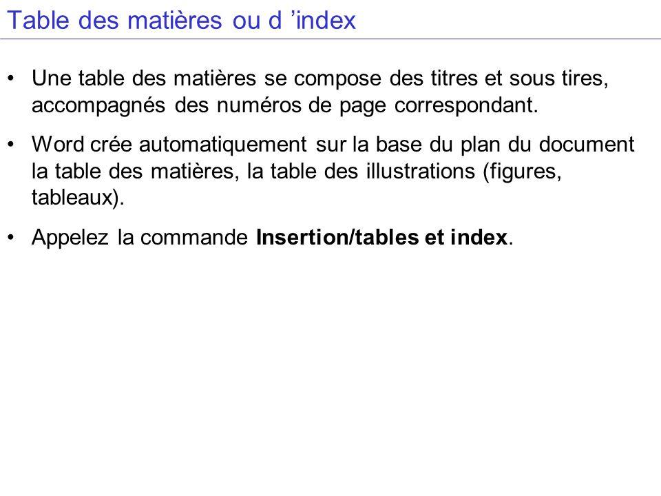 Table des matières ou d 'index