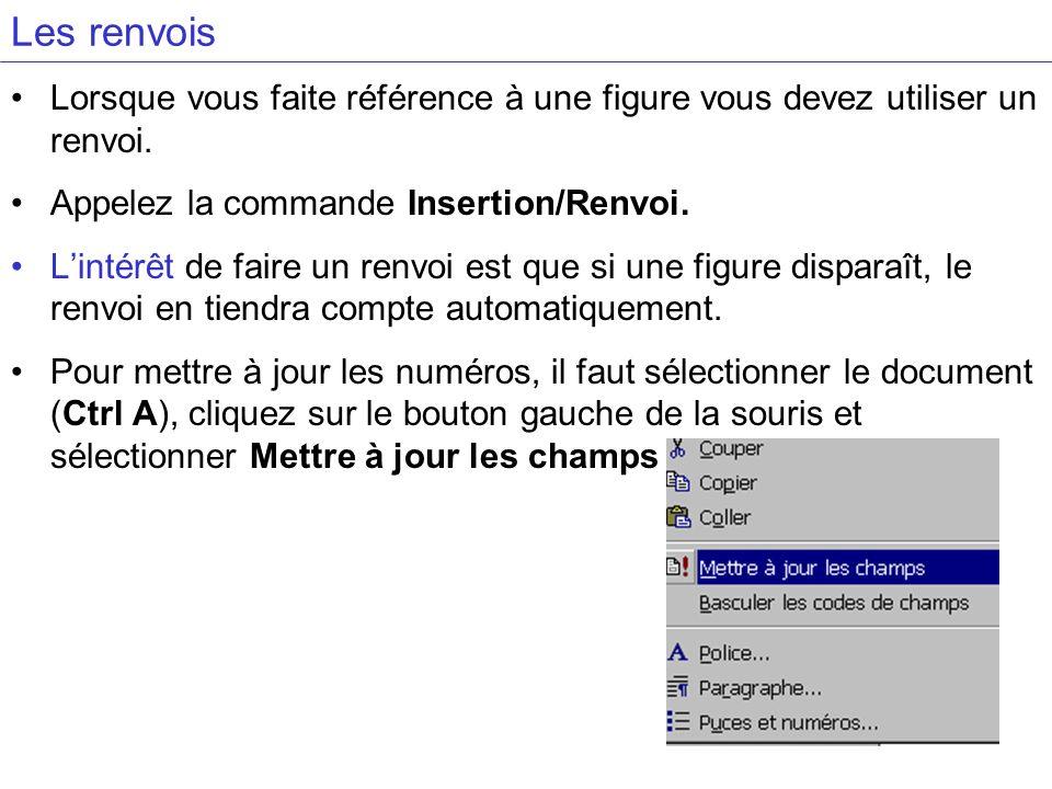 Les renvoisLorsque vous faite référence à une figure vous devez utiliser un renvoi. Appelez la commande Insertion/Renvoi.