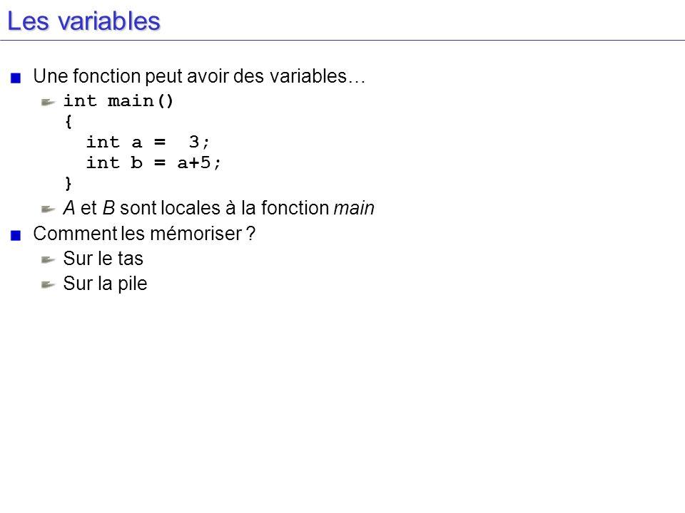 Les variables Une fonction peut avoir des variables…