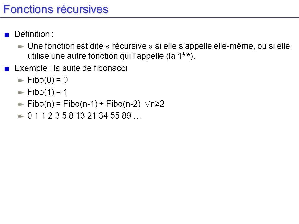 Fonctions récursives Définition :