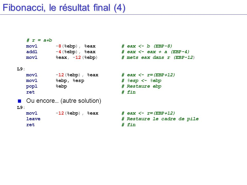 Fibonacci, le résultat final (4)