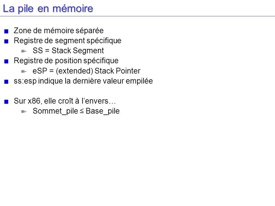 La pile en mémoire Zone de mémoire séparée