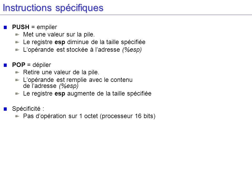 Instructions spécifiques