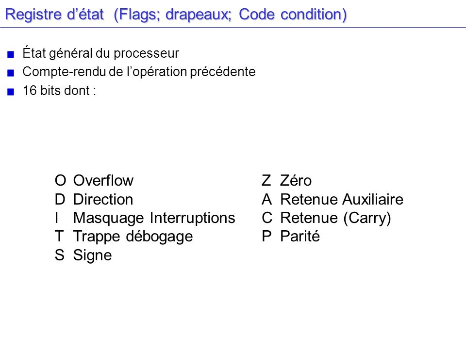 Registre d'état (Flags; drapeaux; Code condition)