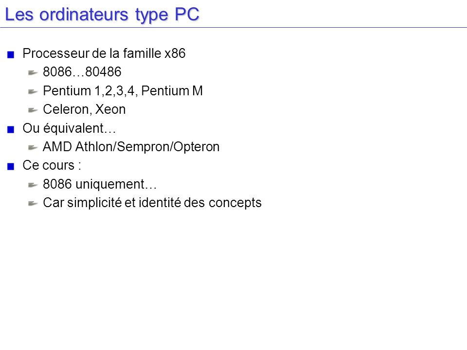 Les ordinateurs type PC