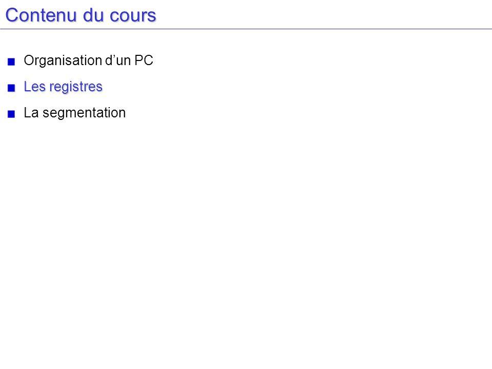 Contenu du cours Organisation d'un PC Les registres La segmentation