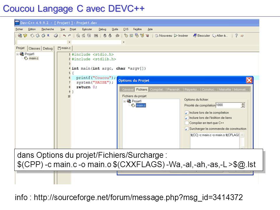 Coucou Langage C avec DEVC++