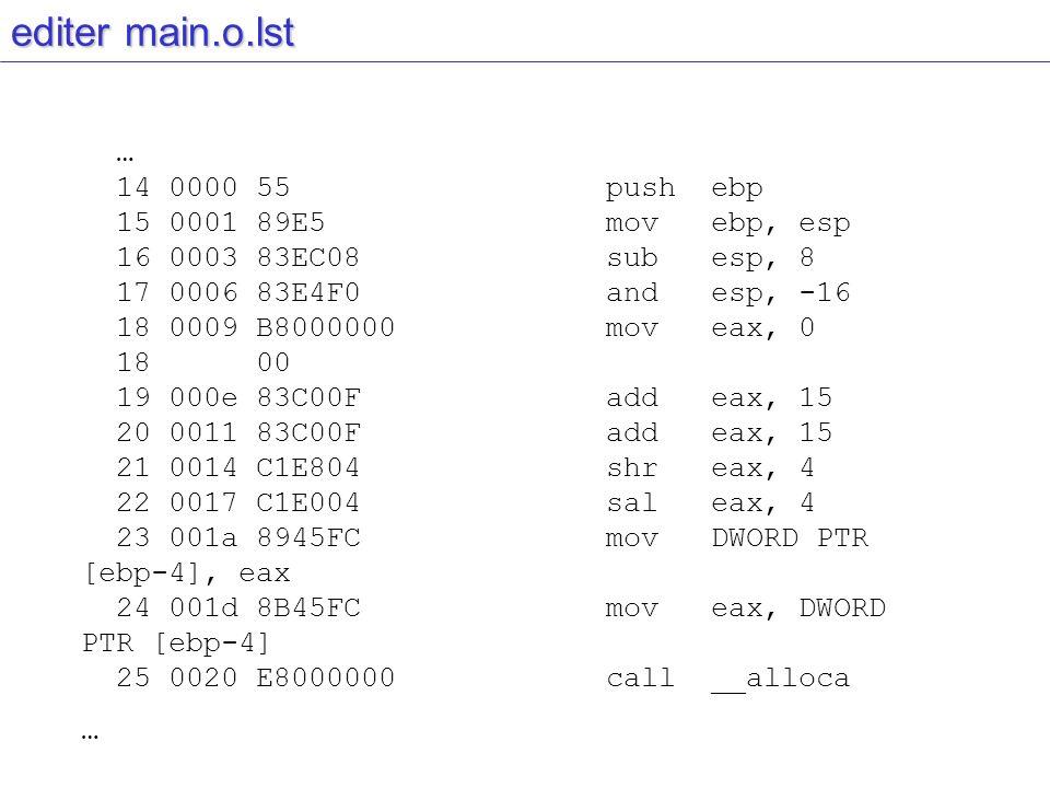 editer main.o.lst … 14 0000 55 push ebp 15 0001 89E5 mov ebp, esp