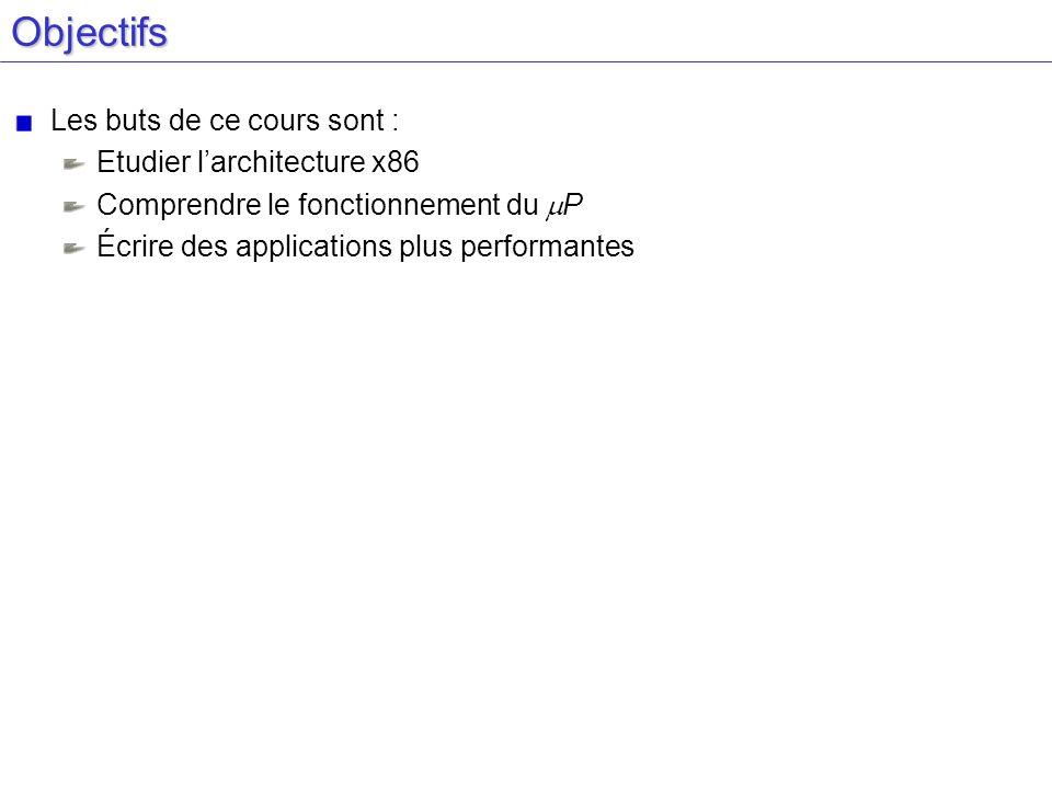 Objectifs Les buts de ce cours sont : Etudier l'architecture x86