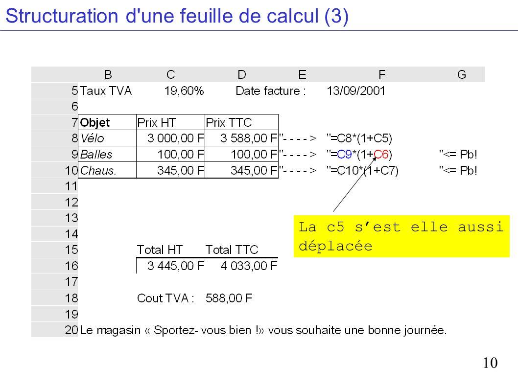 Structuration d une feuille de calcul (3)