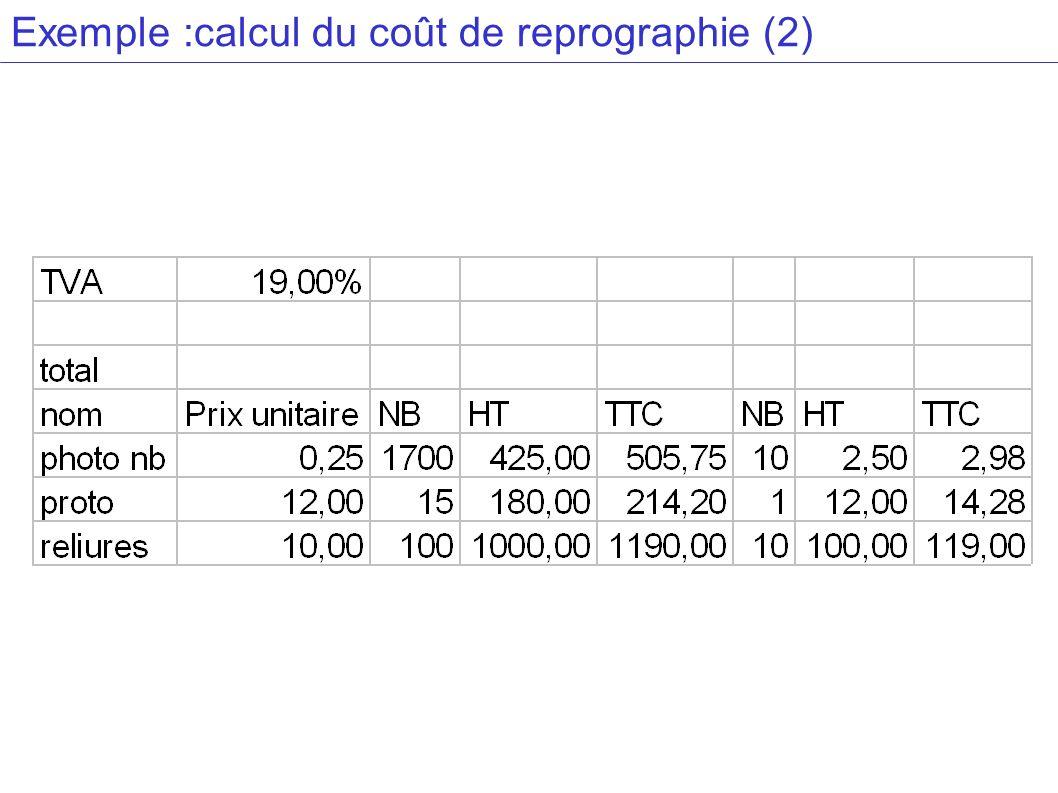 Exemple :calcul du coût de reprographie (2)