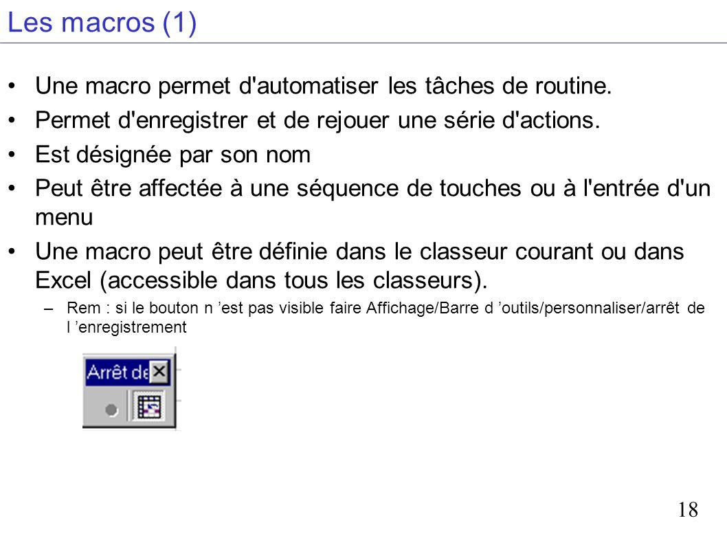 Les macros (1) Une macro permet d automatiser les tâches de routine.