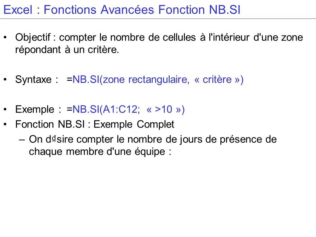Excel : Fonctions Avancées Fonction NB.SI