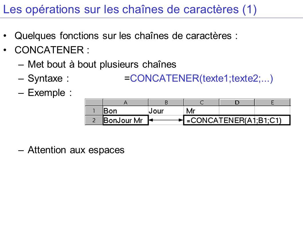 Les opérations sur les chaînes de caractères (1)